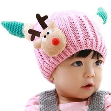 94961ec2f1a Xshuai Baby Hat for 0-12 Months Kids Fashion Newborn Infant Toddler Cute  Baby Girl Boy Beanie Cap Cotton Christmas Hat Children Deer Print Hats  (Pink)  ...