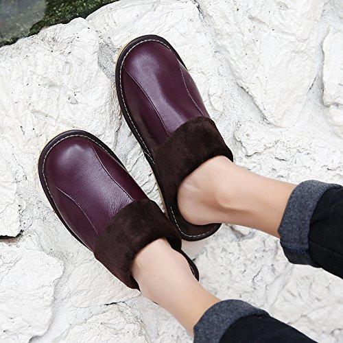Soggiorno fankou Autunno Inverno cotone pantofole indoor uomini e donne coppie home pavimenti in legno caldo e pantofole inverno gancio,35-36,rosso marrone ()