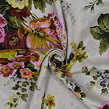 Image of 43' Wide White Floral Print Cotton Cambric Fabric Non-Transparent Cotton DIY Drape Fabric By The Yard Home and Kitchen
