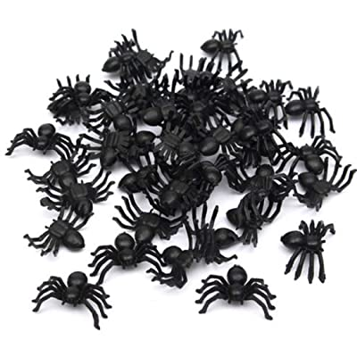 "ECYC 50Pcs Plastic Black Spider Halloween Funny Prank Toys Decoration Realistic Prop, 0.8"" : Baby"