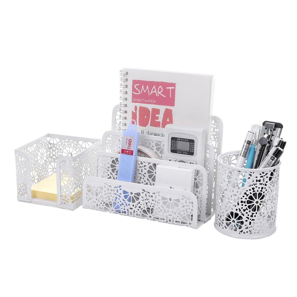 Crystallove Set of 3 Metal Mesh Office Desktop Supplies Organizer, White-Style 2