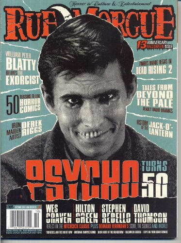 Rue Morgue Magazine 105 PSYCHO TURNS 50 Halloween IRON MAIDEN Derek Riggs HORROR COMICS Wes Craven EXORCIST October 2010 C