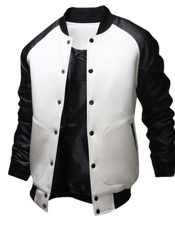 Naughtyman Men's Fashion Splicing Leather Sleeve Baseball Varsity Bomber Jacket