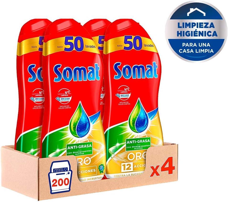 Somat Oro Gel Lavavajillas Antigrasa – Pack de 4, Total: 200 ...