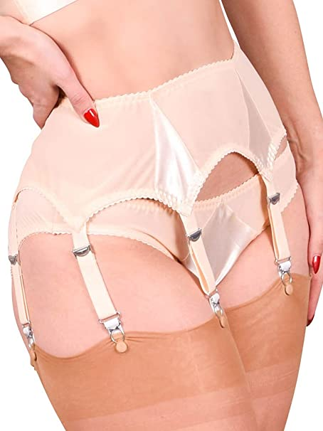 fb5345301 What Katie Did Suspender Belt 6 Strap Peach Satin Harlow  Amazon.co.uk   Clothing