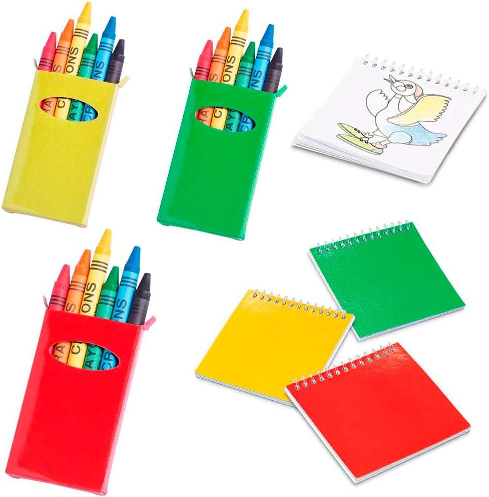 Lote de 15 libretas con Plantillas más 15 Cajas con 6 Ceras Cada Caja, para Colorear. Regalos para Eventos Infantiles, guardería, cumpleaños