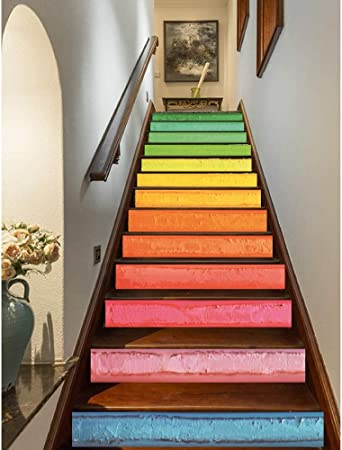 Alfombras de Escalera Siete Colores del Arco Iris Escaleras Etiqueta autoadhesiva Escaleras Risers Mural Vinyl Decal Wallpaper Pegatinas decoración calcomanías (Color : A): Amazon.es: Hogar