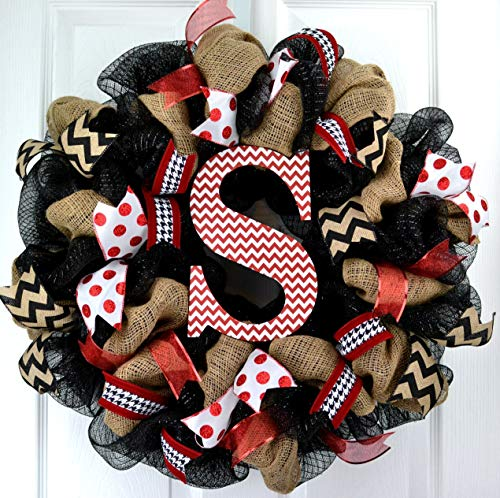 Burlap Monogram Letter Initial Mesh Outdoor Front Door Wreath; Black Red White Chevron -