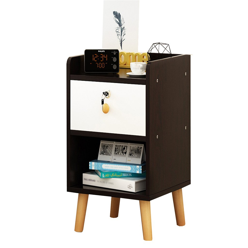 WYGG China-Bedside Table Bedside Table - White/Black MDF Production Locker Living Room Bedroom Mini 1/2 Layer Space Lock Design Drawer [6 Styles and 4 Sizes] /& (Color : C, Size : 353953CM)