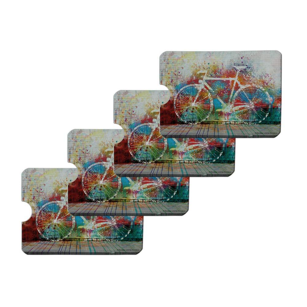 Colorful Rainbow Negative Space Bicycle Bike Wall Credit Card RFID Blocker Holder Protector Wallet Purse Sleeves Set of 4
