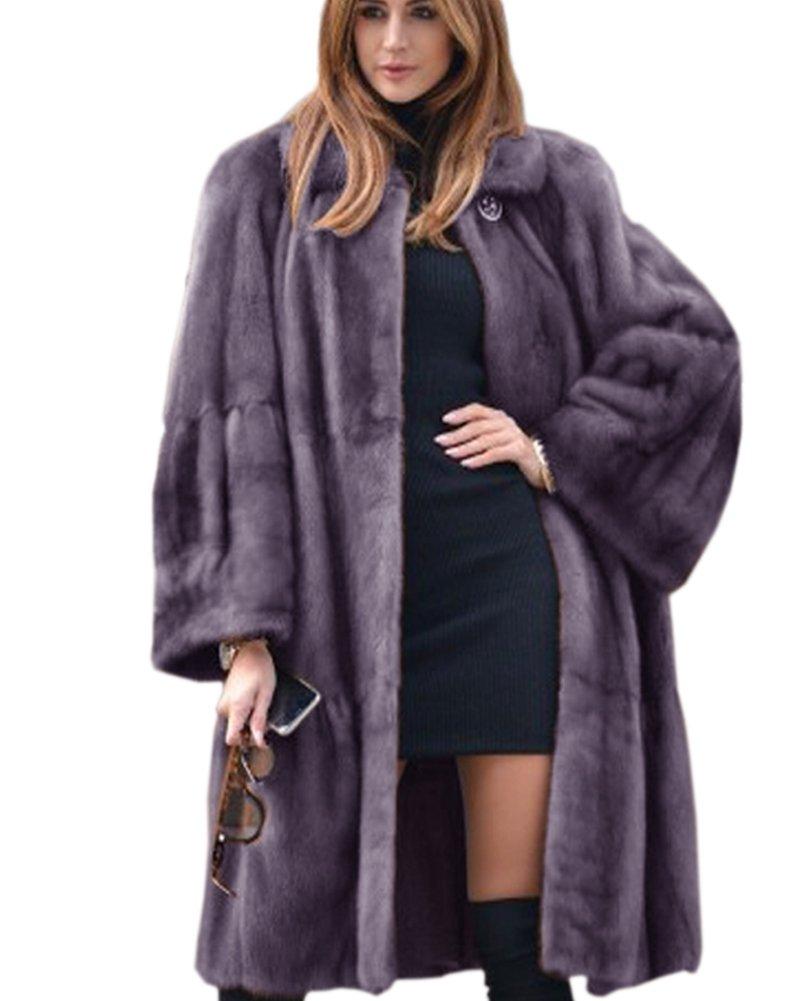 Aofur Luxury Faux Fur Parka Coat Long Lapel Trech Jacket Winter Outerwear Warm Overcoat Women Size S-XXXL (Medium, Grey)