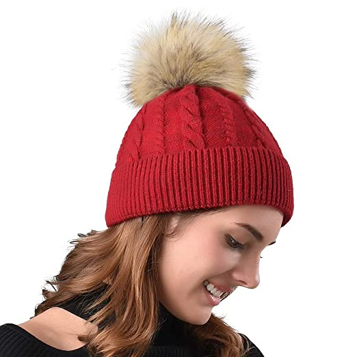 25b2f93d8 FURTALK Women Winter Pom Knit Hat Cashmere Beanie Caps with Faux Fur Pom  Pom for Girls