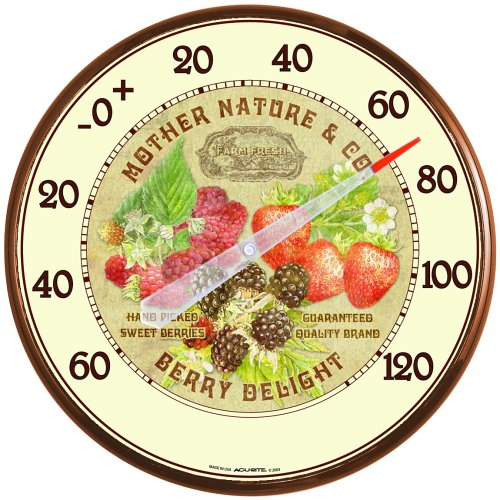 AcuRite 01844 12.5-Inch Wall Thermometer, Berries