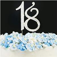 18 Cake Topper   Premium Bling Rhinestone Diamond Gems   18th Birthday or Anniversary Party Decoration Ideas   Quality…