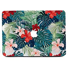 MacBook Air 13 Case, L2W Matte Print Tropical Palm Leaves Pattern Coated PC Hard Protective Case Cover for Apple MacBook Air 13 inch (Model: A1369 and A1466) - Palm leaves & Red Flowers
