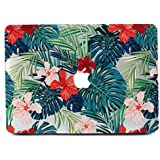"""MacBook Air 11 Case, L2W Matte Print Tropical Palm Leaves Pattern Coated PC Hard Protective Case Cover for Macbook Air 11"""" (A1370 and A1465) - Palm leaves & Red Flowers"""