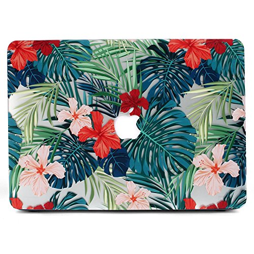 MacBook Air 11 Case, L2W Matte Print Tropical Palm Leaves Pattern Coated PC Hard Protective Case Cover for Macbook Air 11 (A1370 and A1465) - Palm leaves & Red Flowers