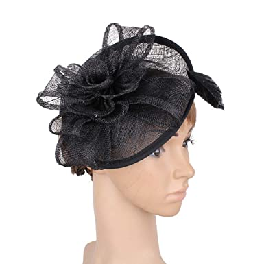 23c5b305ac1 Red Sinamay Fascinator hat Wedding Charming Classic Millinery SYF160 (Black)