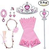 Vicloon 9pcs Accesorios de Princesa Dress Up para Niñas Trenza Varita Mágica Corona Diadema Collar Guantes para Cosplay…