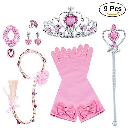 Vicloon Accesorios de Princesa Dress Up para Niñas Trenza Varita Mágica Corona Diadema Collar Guantes para Cosplay Carnaval Fiesta de Cumpleaños (Rosa ...