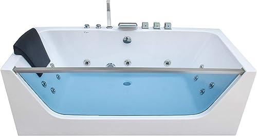 Empava 67 in. Acrylic Alcove Whirlpool Bathtub-Hydromassage Rectangular Jetted Soaking Tub