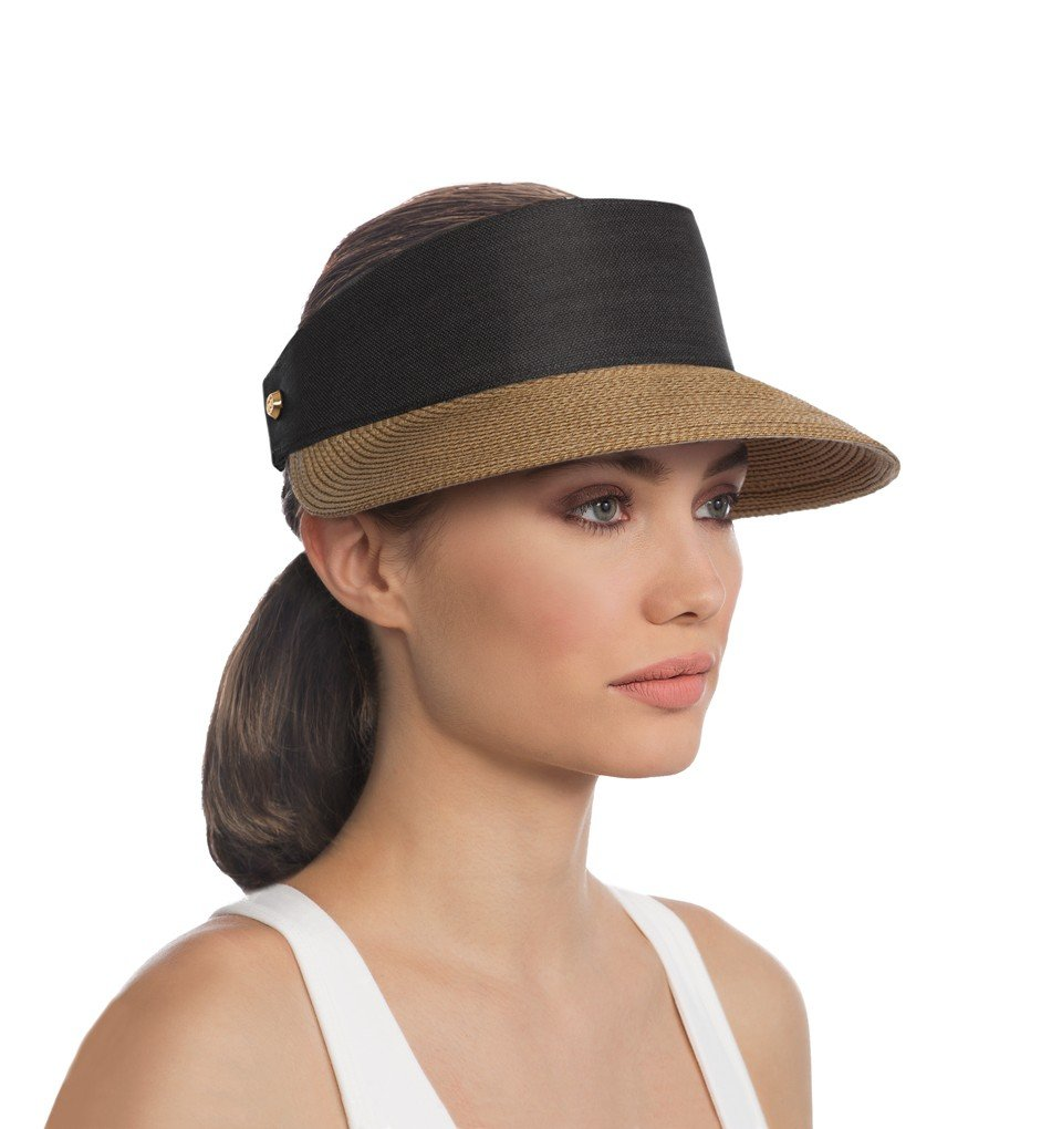 Eric Javits Luxury Fashion Designer Women's Headwear Hat - Champ - Natural/Black