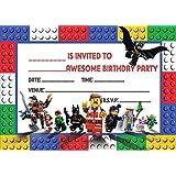 LEGO MOVIE CHILDRENS BIRTHDAY PARTY INVITES INVITATIONS X 20 PACK WITH ENVELOPES