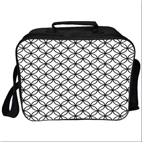 Geometric Circle Decor Picnic Bag Cooler Bag,Minimalist Monochrome Interlace Circle Pattern Modules Pattern for Kids Boys Girls,10.6