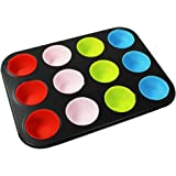 COM-FOUR® Lattina per muffin in acciaio al carbonio con 12 stampi colorati in silicone, 35 x 26,5 cm (01 pezzi - acciaio carbonio con stampi silicone)