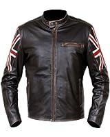 UK Flag Café Racer Distressed Brown Biker Synthetic Leather Jacket
