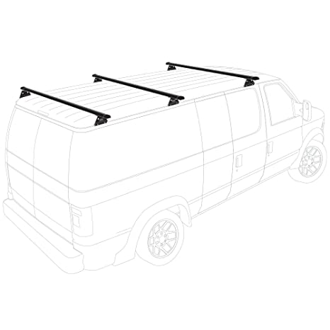 Vantech Aluminum H1 Rack 3 Bar System for a Chevy Express 1996-On Black