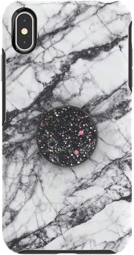 Otter + Pop for iPhone Xs Max: OtterBox Symmetry Series Case with PopSockets Swappable PopTop - White Marble with Sparkle Black