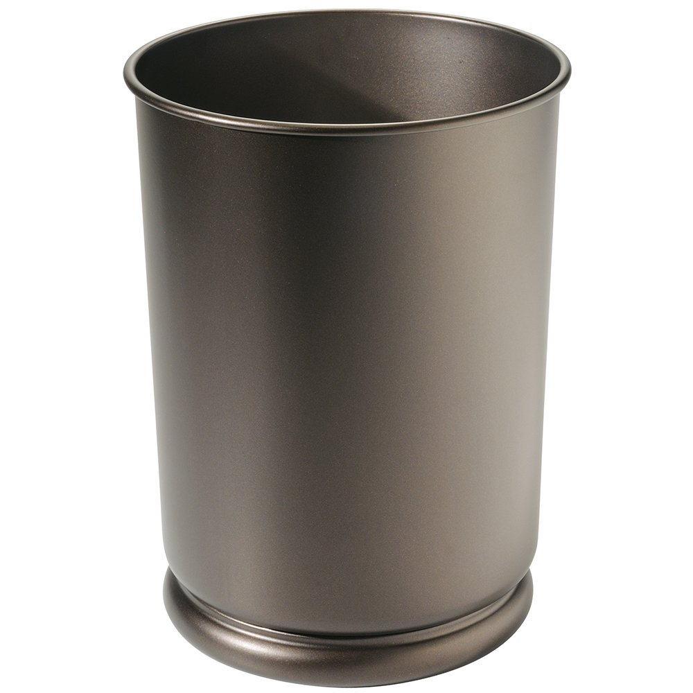 Amazon.com: MDesign Round Metal Tall Trash Can Wastebasket, Garbage  Container Bin For Bathrooms, Powder Rooms, Kitchens, Home Offices   Durable  Steel ...