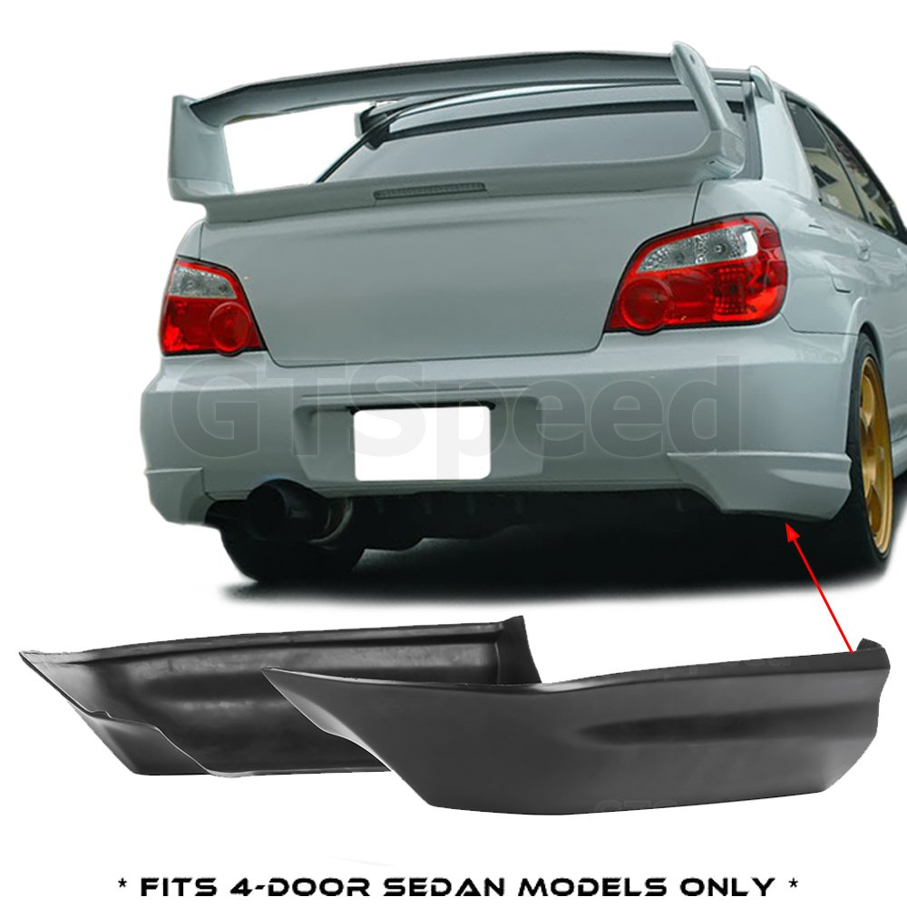 GTSpeed Made for 05-07 Subaru Impreza WRX STI ONLY Rear PU Bumper Guard Lip Add-on Spats Aprons (Will NOT fit Wagons / For 4-Door Sedans ONLY) GT-Speed