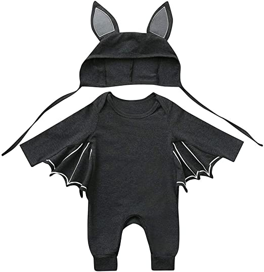Toddler Newborn Baby Boys Girls Halloween Cosplay Bat Deor Romper Hat Outfit Set