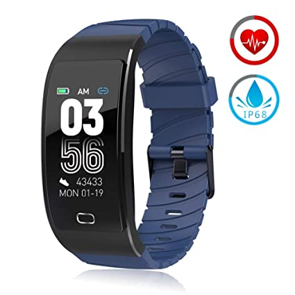 ZKCREATION Fitness Tracker Activity Tracker with Heart Rate Monitor IP67 Waterproof Pedometer Sleep Monitor Smart Watch Compatible with Android and ...