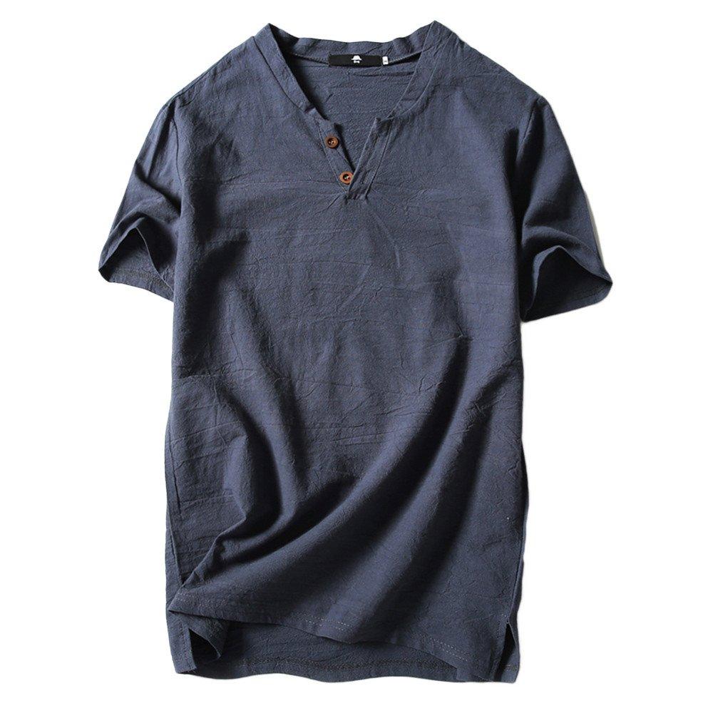 Danhjin Mens T Shirts Men's Baggy Linen Short Sleeve Cotton Retro V Neck T Shirts Tops Blouse Grey