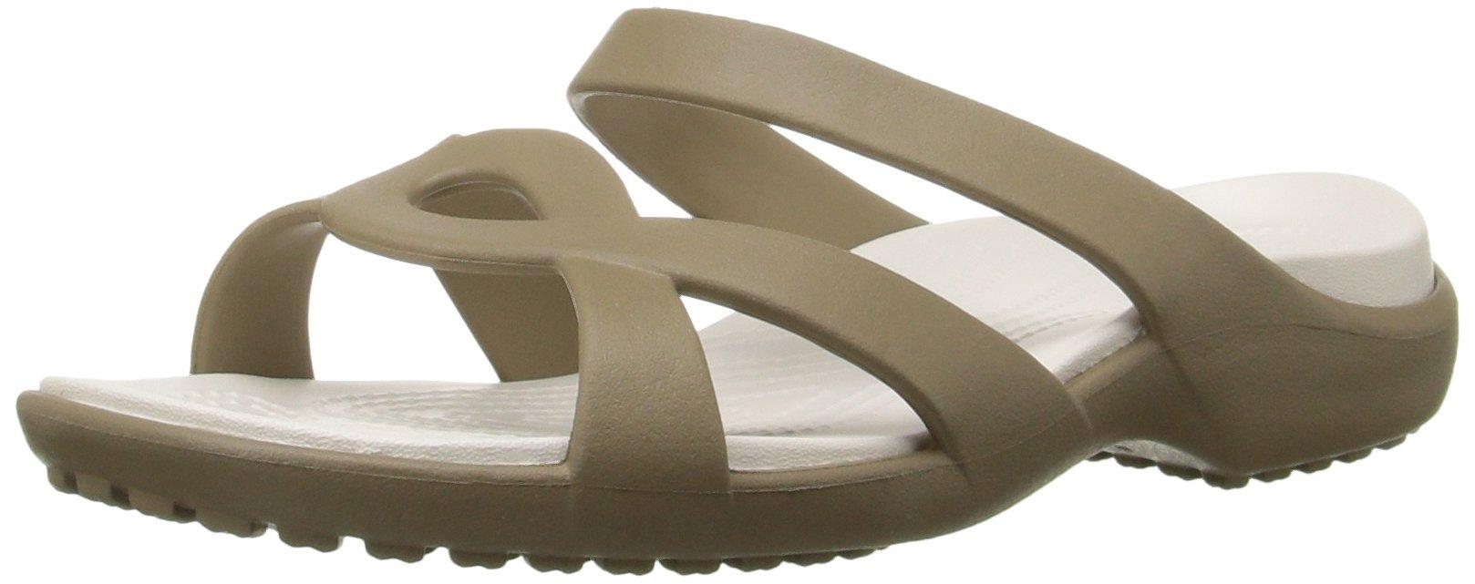 Crocs Women's Meleen Twist Wedge Sandal, Khaki/Oyster, 9 M US