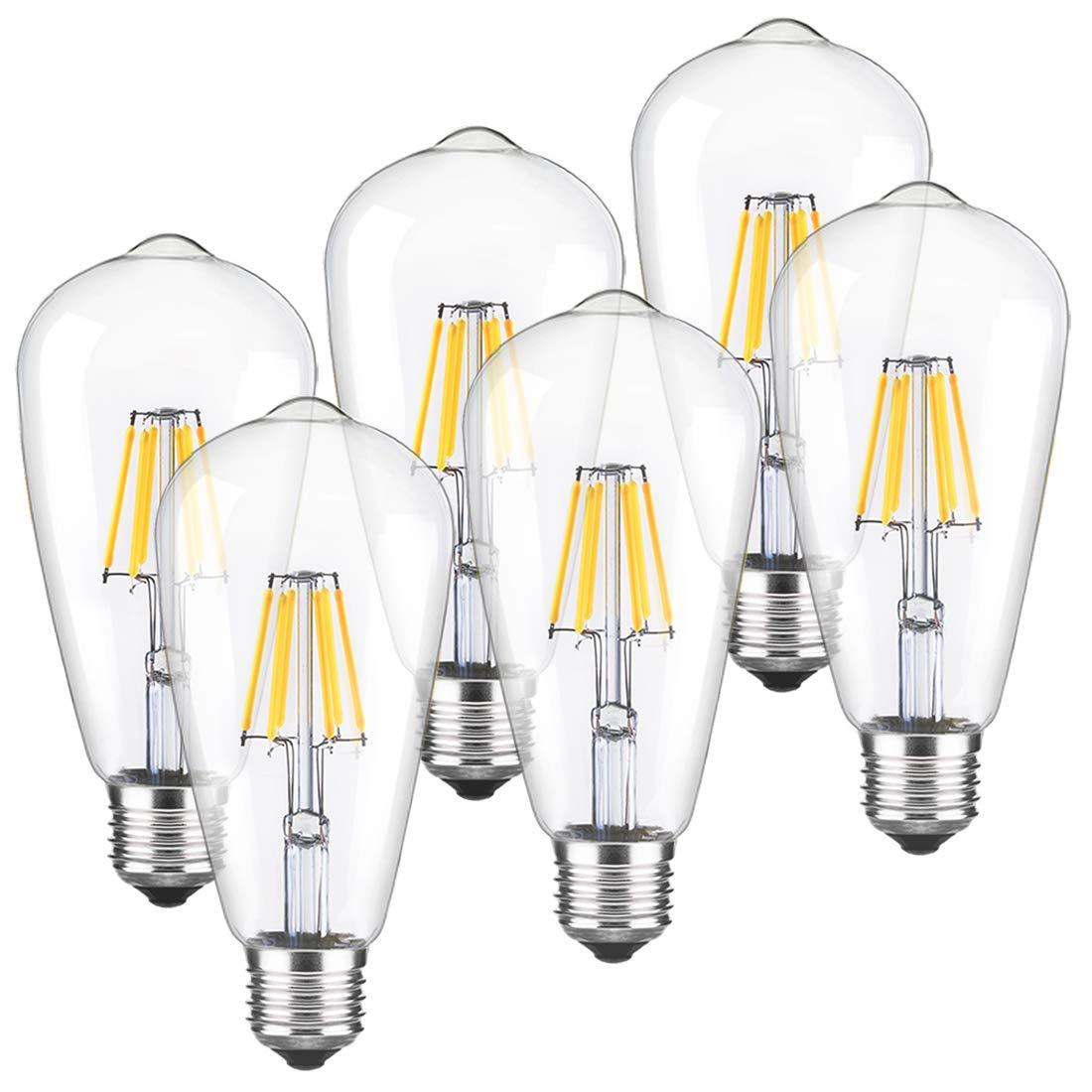 LED Edison Bulb Dimmable Vintage Light Bulbs 2700k Warm White 60W Equivalent E26 Edison Bulb 6-Pack by LUXON