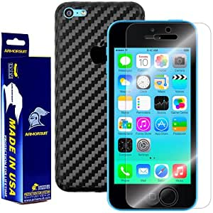 ArmorSuit MilitaryShield - Apple iPhone 5C Screen Protector + Black Carbon Fiber Full Body Skin Protector / Front Anti-Bubble Ultra HD - Extreme Clarity & Touch Responsive Shield with Lifetime Free Replacements - Retail Packaging