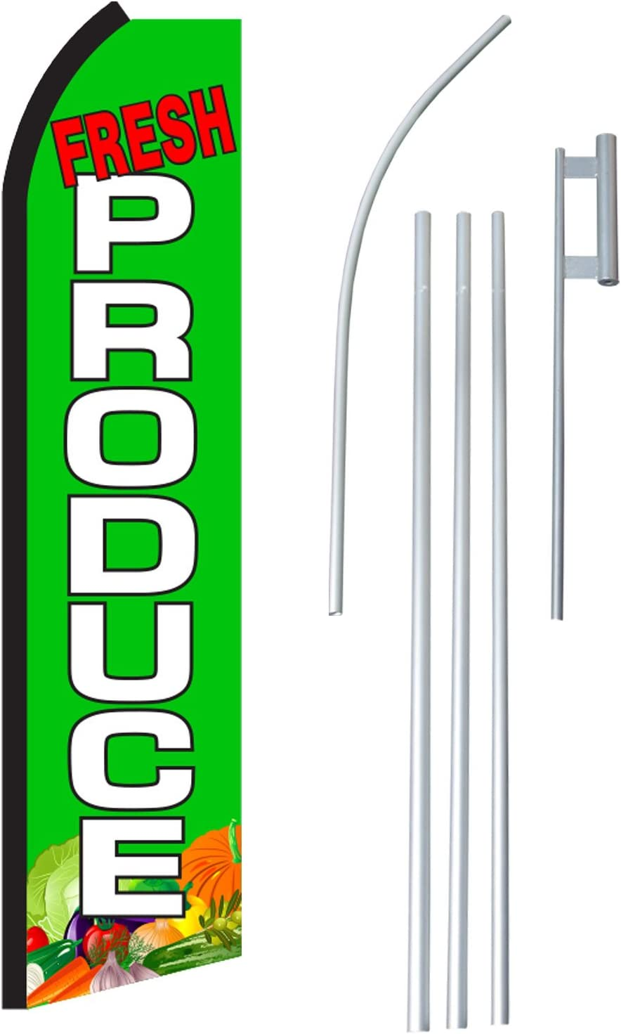 Fresh Produce Complete Flag Kit Includes 12 Swooper Feather Business Flag with 15-Foot Anodized Aluminum Flagpole and Ground Spike NEOPlex
