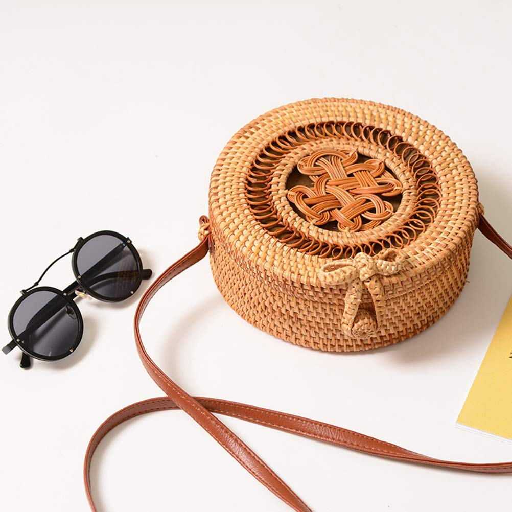 TENDYCOCO Rattan Purse Crossbody Bag Round Knit Handwork Leisure Beautiful for Women
