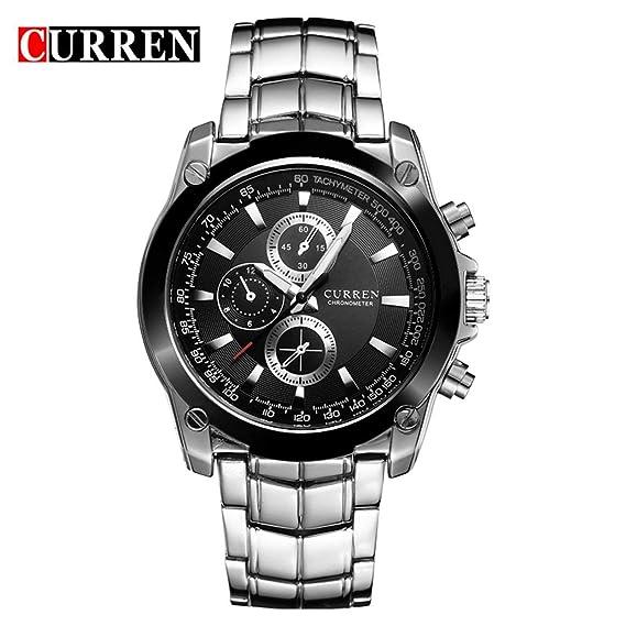 Curren 8025 Trendy Design Men Round Case Reloj de Pulsera de Acero Inoxidable Reloj de Pulsera de Hombre Hombres Mejores Regalos de cumpleaños: Amazon.es: ...