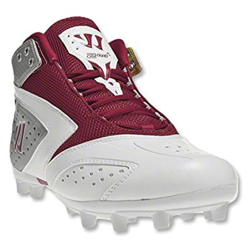 Warrior Lacrosse Men's WMSSM2RD Lacrosse Cleat,White/Red,8.5 M US
