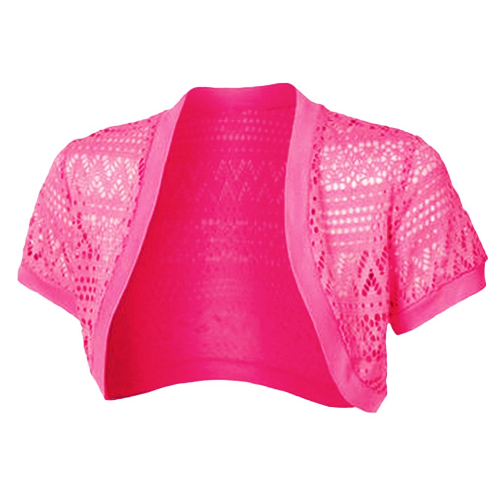 Cutecc Women Crochet Knitted Short Sleeve Shrug Bolero Cardigan Top (L, Rose)