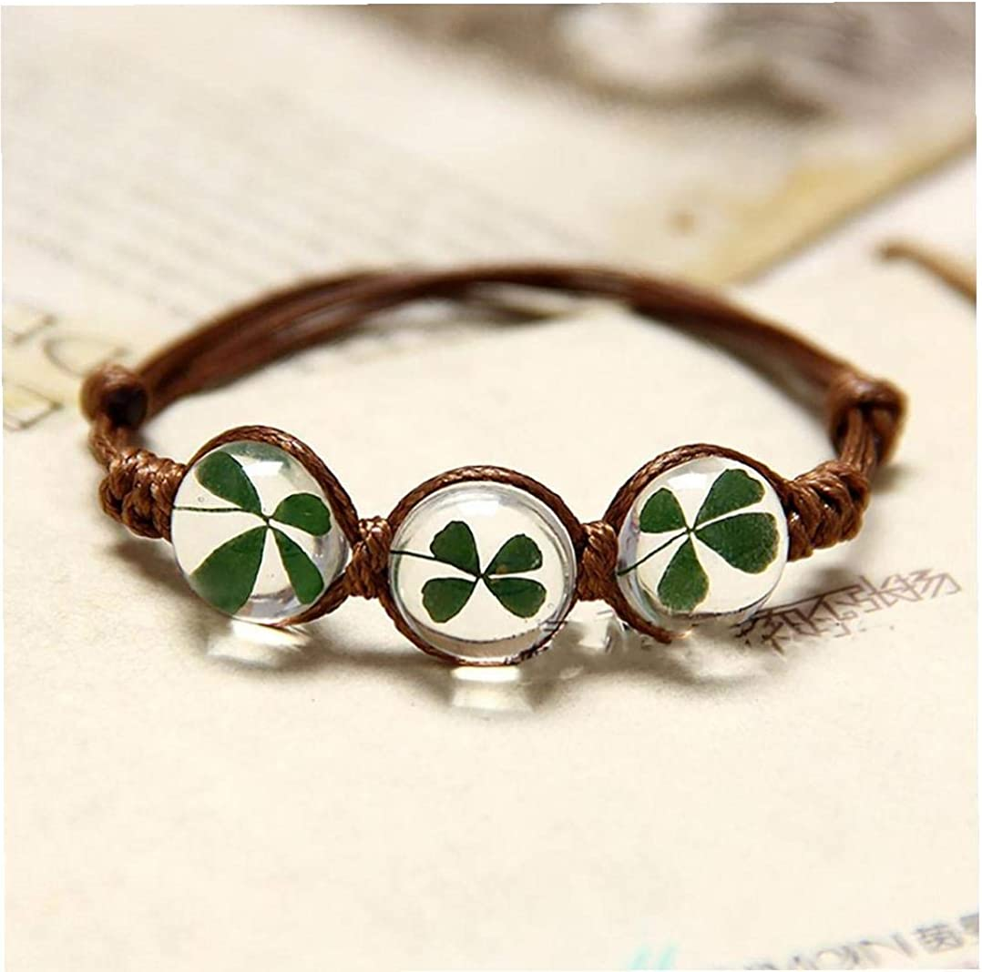 Bracelet Fait Main Exquis De Fleurs S/éch/ées Bracelet Tr/èfle /à Quatre Feuilles Gemstone Verre Charms Couverture Avec AdjustableRope Bracelet Strand