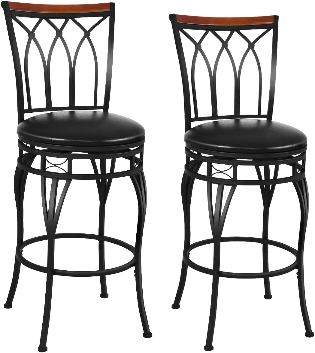 COSTWAY Set of 2 Bar Stool, Swivel Height Adjustable Bar Stool, Counter Bar Chair of Metal Frame, with Backrest, PU and Sponge Cushion, Footrest, Anti-Slip Foot Stakes for Bar Counter Cafe Use 2