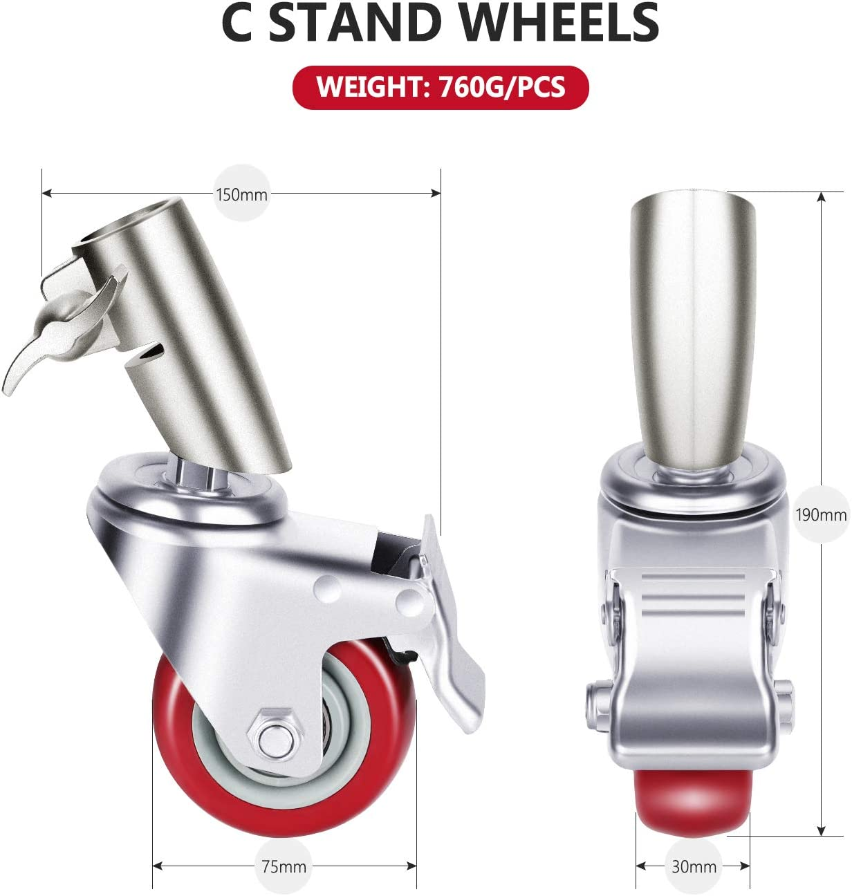 Neewer 3 Packs Professional Swivel Caster Wheels Set with 75mm Diameter Durable Metal Construction with Rubber Base ONLY Compatible Photography C Stand for Studio Video Shooting