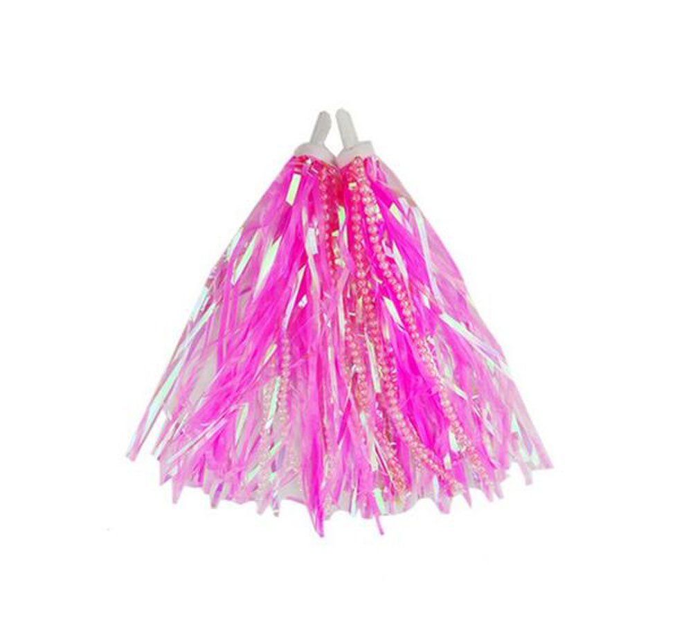 Scooter Bike Handlebar Streamers with Beads - Baby Carrier Accessories Kids Childrens Bicycle Trike Grips Sparkle Tassel Colourful Ribbons (Pink)