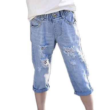 f7676534eb1c8 子供 ダメージ デニム パンツ ジーンズ キッズ ジュニア 男の子 女の子 7分丈 デニム ジーパン 子供服
